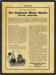 1911 Cushman Motor Works Gas Engines New Metal Sign Large Size 12 X 16
