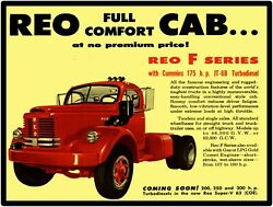 Reo F Series Truck With Cummins Diesel New Metal Sign Large Size 12 X 16
