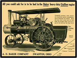 A.d. Baker Steam Traction Engine Swanton, Oh New Metal Sign Large Size 12 X 16