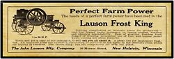 1910 Lauson Frost King Engines - New Metal Sign 6 X 18 New Holstein Wisconsin