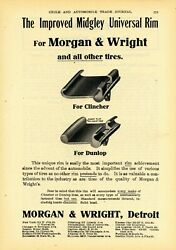1908 Morgan And Wright Co. Ad Midgley Universal Rim For Clincher And Dunlop Tires
