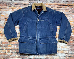 Vtg Polo Medium Denim Hunting Wool Lined Chore Coat Game Pouch Mens