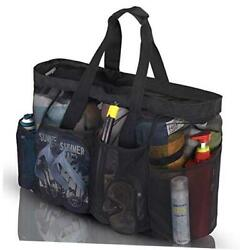 XL Mesh Beach Bags and Totes Extra Large Beach Bag with Zipper and Black $23.33