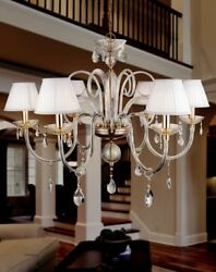 Suspended Lights Classic With Crystal Clear And Lampshade White