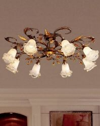 Ceiling From Ceiling Classic With Crystal And Glass Silver Gold