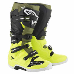 Alpinestars Tech 7 Motorcycle Off Road Boots Yellow / Military Green / Black