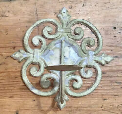 Antique Wrought Iron Scroll Original Green Chippy Paint Candle Shabby Holder