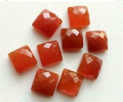 Wholesale Lot Natural Carnelian Square Rose Cut Loose Gemstones 16mm To 20mm