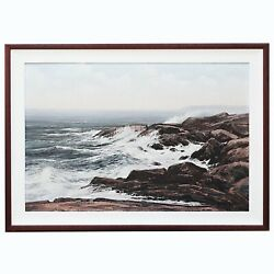 Canadian Ronald Davies 1932-1982 Vintage Oil On Canvas Painting Pounding Waves