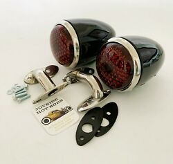 1937 Ford Tail Lights With Custom Stainless Steel 90 Degree Stands - Vintique