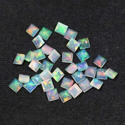 Natural Ethiopian Opal Square Faceted Cut Loose Gemstone Size 4mm Aaa Opal