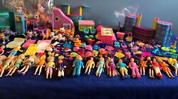Polly Pocket Large Lot 300+ Dolls Animals Clothes Furniture Hats Shoes Bags