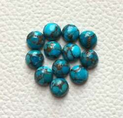 Natural Blue Copper Turquoise Loose Gemstones 21mm To 25mm Round Cabochon