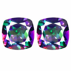 Natural Mystic Opal Loose Gemstones Cushion Shape Facted Cut 11mm To 15mm