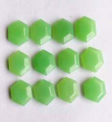 Natural Prehnite Chalcedony Hexagon Faceted Cut Loose Gemstone Size 6mm To 10mm
