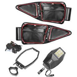 2x Utv Rear View Side Mirrors Kits W/ Led Lights+ Utv Side Door Bag W/ Knee Pads
