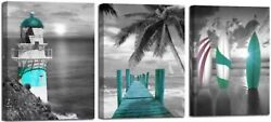 New Canvas Wall Art Ocean Beach Pictures 3 Panels Home Office Decor