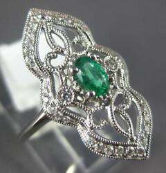 Estate Wide .37ct Diamond And Aaa Emerald 18kt White Gold Oval And Round Floral Ring