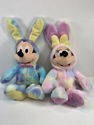 Disney Easter 2020 Plush Minnie And Mickey Mouse Tie Dye Bunny Toy Lot Of 2 New