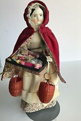 German Porcelain Doll With Sewing Basket 12 Tall
