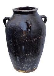 Lg Old Asian Earthenware Pottery Storage Jar 25.5 H By 16.5 Diameter
