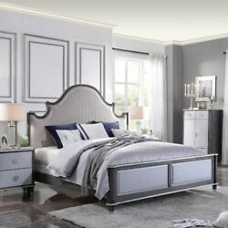 Queen Size Bed Bedroom Furniture Two Tone Beige Fab Grid Pattern Silver Tip Leg