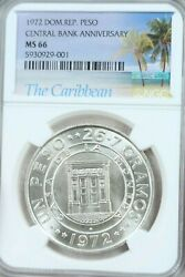 1972 Dominican Republic Silver 1 Peso Central Bank Anniversary Ngc Ms 66 Gem