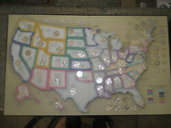 Map Usa Coins Bu Statehood Quarters Collection - With Dc And Territories 56 Coins