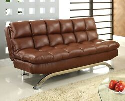 1pc Futon Sofa Upholstered Saddle Brown Leatherette Living Room Furniture Couch