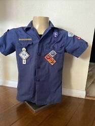 Vtg. 60's Boy Scouts Of America Cub Scout Blue Uniform Shirt W/medals And Badges