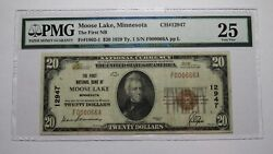 20 1929 Moose Lake Minnesota Mn National Currency Bank Note Bill Ch. 12947 Vf