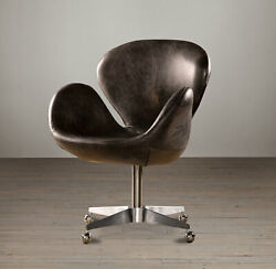 Restoration Hardware And039devonand039 Leather Swivel Chair. Msrp 1400