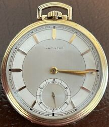 Hamilton Pocket Watch With 14k Gold Filled Case 10s