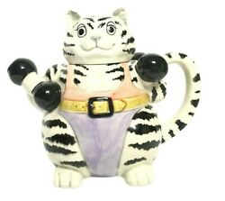Mary Ann Baker White And Black Weightlifting Cat 3d Figural Teapot
