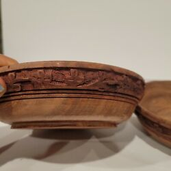2 Antique Old Collectible Indian Hand Carved Wooden Bowls 7 Rusticity