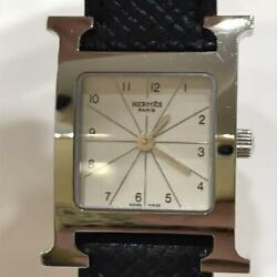 Hermes Paris Hh1.210 3078092 Stainless Steel Color Silver X Black Analog Watch