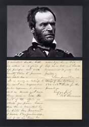 American Civil War General William Tecumseh Sherman Autograph Letter Signed And Mo