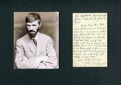 Novelist And Poet D. H. Lawrence Autograph Letter Signed And Mounted