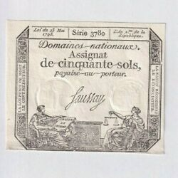 Assignat French Revolution 50 Sols -1793 Note Currency Bill Aunc Unc
