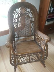 Very Ornate And Unique Antique Victorian Wicker Rocking Chair Rocker