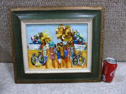 Ultra Modern Wooden Framed Oil Painting On Board 15x18 Of Happy Party Signed 365