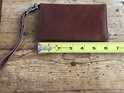 Hobo Brown Leather Wristlet Wallet $29.00