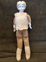 """17"""" Antique Porcelain China Head Blonde Cloth Body China Hands Jointed Legs"""