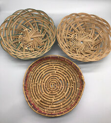Vintage Coil Sweet grass ? And Wicker Rattan ? Colored Wall Baskets