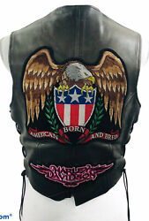 Harley Davidson Pins Patches Womens Leather Vest Hog Size Large Skin Tan