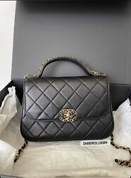 1000 Authentic 🔥rare 19 Flap Infinity Top Handle Small Black 🔥ghw Bag