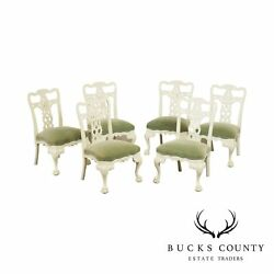 Georgian Style Set 6 White Lacquered Carved Dining Chairs
