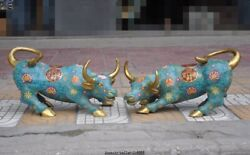 China Dynasty Bronze Cloisonne Enamel Kingneed Bull Ox Oxen Fengshui Pair Statue