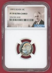 1999-s Silver 10c Dimeandnbsproosevelt Ngc Pf 70 Ultra Cameo -010