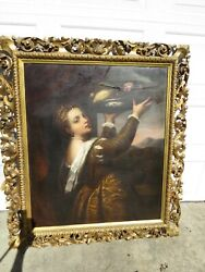 Antique European Painting Young Woman Lavinia Hand Carved Italian Frame